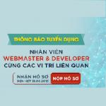 Tuyển dụng nhân viên Webmaster, Developer & Các vị trí liên quan
